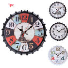 Decorative Wall Clock Vintage Iron Hanging Exquisite Fashion Bottle Cap Mute