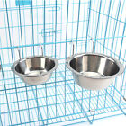 Durable Pet Dog Puppy Stainless Steel Hanging Food Water Bowl Feeder Cage Coop
