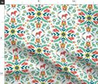 Swedish Natural Botanics And Animals Folklore Fabric Printed by Spoonflower BTY