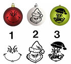 Grinch Face Vinyl Decal Sticker For Christmas Ornaments, Tumblers, Car