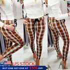 Womens Skinny High Waist Plaid Pencil Pants Stretch Slim Fit Check Long Trousers