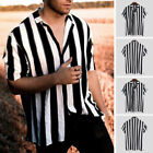 Mens Summer Short Sleeve Casual Striped T Shirt V Neck Button Down Blouse Tops
