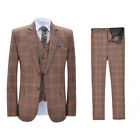 Men's Plaid Tweed Suit Two Button Dinner Formal Suit Tuxedo Party Prom Custom