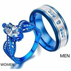 Blue Plated Couple Rings Titanium Steel Mens Ring Blue CZ Women's Wedding Ring image