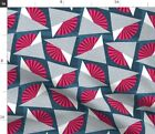 Grey Flowers Origami Pink Fan Fabric Printed by Spoonflower BTY