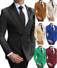 Mens 2 Pieces Suits Double Breasted Prom Notch Lapel Tuxedo Silm Fit 34-56Casual