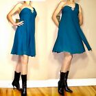 Nicole Miller Babydoll Silk One-Shoulder Womens Dress Teal Turquoise 4 8