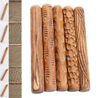 Wood Flower Rolling Pin 3D Embossing Stick Ceramic Polymer Clay Baking Craft DIY image