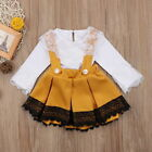 Newborn Baby Girl Dress Tops Outfits 2Pcs Set Ruffle Romper Straps Skirt Clothes