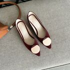 Fashion Women's Pointy Toe Slip On Block Heels Party Suede Shoes Pumps