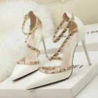 Ladies High Heels Rivet Casual Sandals Womens Studded Shoes Ankle Strappy Pumps