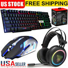 LED Illuminated Backlit Gaming Keyboard Mouse Virtual Gaming Headset W/Mic