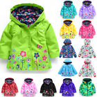 Kids Baby Girl Hooded Raincoat Coat Jacket Flowers Outwear Waterproof Casual Top