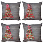 Ambesonne Happy Xmas Cushion Cover Set of 4 for Couch and Bed in 4 Sizes