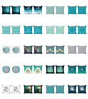 Ambesonne Teal Cushion Cover Set of 2 for Couch and Bed in 4 Sizes