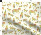 Watercolor Carousel Rainbow Horse Nursery Fabric Printed by Spoonflower BTY