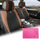 Leatherette Seat Cushion Covers Front Bucket Brown w/ Pink Dash Mat For Auto $109.99 USD on eBay
