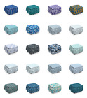 Ambesonne Blue Ottoman Cover 2 Piece Slipcover Set and Ruffle Skirt