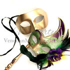 Mardi Gras Masquerade Feather stick mask Couple Dress up Carnival Parade Party