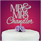 Personalised Mr and Mrs Wedding Cake Topper Decoration Glitter Gold Silver Grey