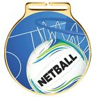 60mm Vision Gold Netball Medals and Ribbons Medal Ribbon Optional Engraving