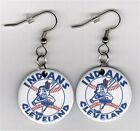 """Cleveland Indians 1"""" Button Dangle Fish Hook Earrings - FREE Matching Pin MLB on Ebay"""