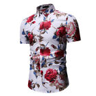 Men Slim Fit Floral Printed Shits Button Down Hawaiian Party Casual T-Shirt Tops