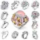 Fashion 925 Silver Pink Sapphire Ring Women Wedding Jewelry Party Gift Size 6-10 image