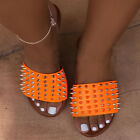 Womens Ladies Studded Slip On Sandals Sliders Summer Mules Slippers Shoes Size