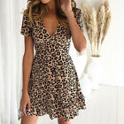 Womens Leopard Print V-Neck Summer Holiday Short Sleeve Evening Party Mini Dress