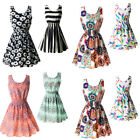 Women Summer Beach Chiffon Sleeveless Dress Mini OL Floral Pleated Tank Sundress