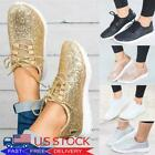 Womens Sequin Glitter Sneakers Lace Up Lightweight Athletic Tennis Comfort Shoes