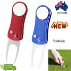 Foldable Golf Repair Divot Tool with Pop-up Button & Magnetic Ball Marker Bone