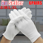 6 Pairs Costume Jewellery Work Handling Soft Cotton Hands White Gloves Protector
