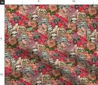 Sloth Floral Pink Flowers Animal Cute Unique Fabric Printed by Spoonflower BTY