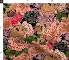 Pug Floral Animal Dog Lover Flower Pet Gift Fabric Printed by Spoonflower BTY