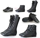 Adults Kids Jazz Dance Leather Boots Suede Sole High Top Perform Lace Up Shoes