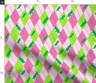 Alligator Pink Argyle Crocodile Preppy Lime Fabric Printed by Spoonflower BTY