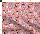 Chihuahua Florals Pink Girls Cute Dogs Fabric Printed by Spoonflower BTY