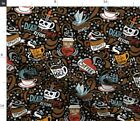 Tattoo Coffee Bean Mug Skull Black Brown Beans Fabric Printed by Spoonflower BTY