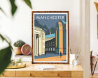 Manchester Central Library Vintage Travel Poster, Modern Wall Art Print