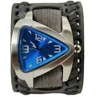 Blue Oversized Teardrop Watch with Faded Black Wide Weaved Vintage Style Leather