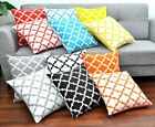 Throw Pillow Cover (set Of 2) Cotton Printed Trellis Decorative Cushion 18x18 In