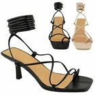 Ladies+Womens+Strappy+Tie+Up+Sandals+Lace+Low+Heels+Toe+Loop+Summer+Party+Shoes