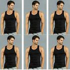 Lot of 6 Men's Cotton Tank Top A-Shirt Gym Wife Beater Undershirt Ribbed Muscle