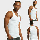 Lot of 6 Men's White Cotton Tank Top A-Shirt Gym Wife Beater Undershirt Ribbed