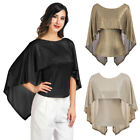 GK Women Round Neck Batwing Loose Tunic Blouse Tops Irregular Formal Party Shirt