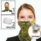 Bandana Scarf face mask with 2 Carbon Filters - Neck Gaiter Cloth men and women