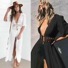 Kaftan Bikini Cover Up Lace Swimwear Sarong Crochet Summer Solid Maxi Dress New