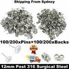 200/400 Pcs Earring Stud Posts Pads & Nut Backs Silvery Surgical Steel Diy Craft